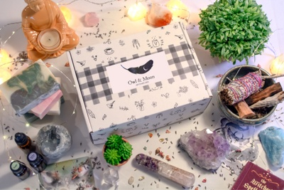 Owl and Moon subscription box is surrounded by 2 succulent plants, various crystals and a buddha statue with candle.