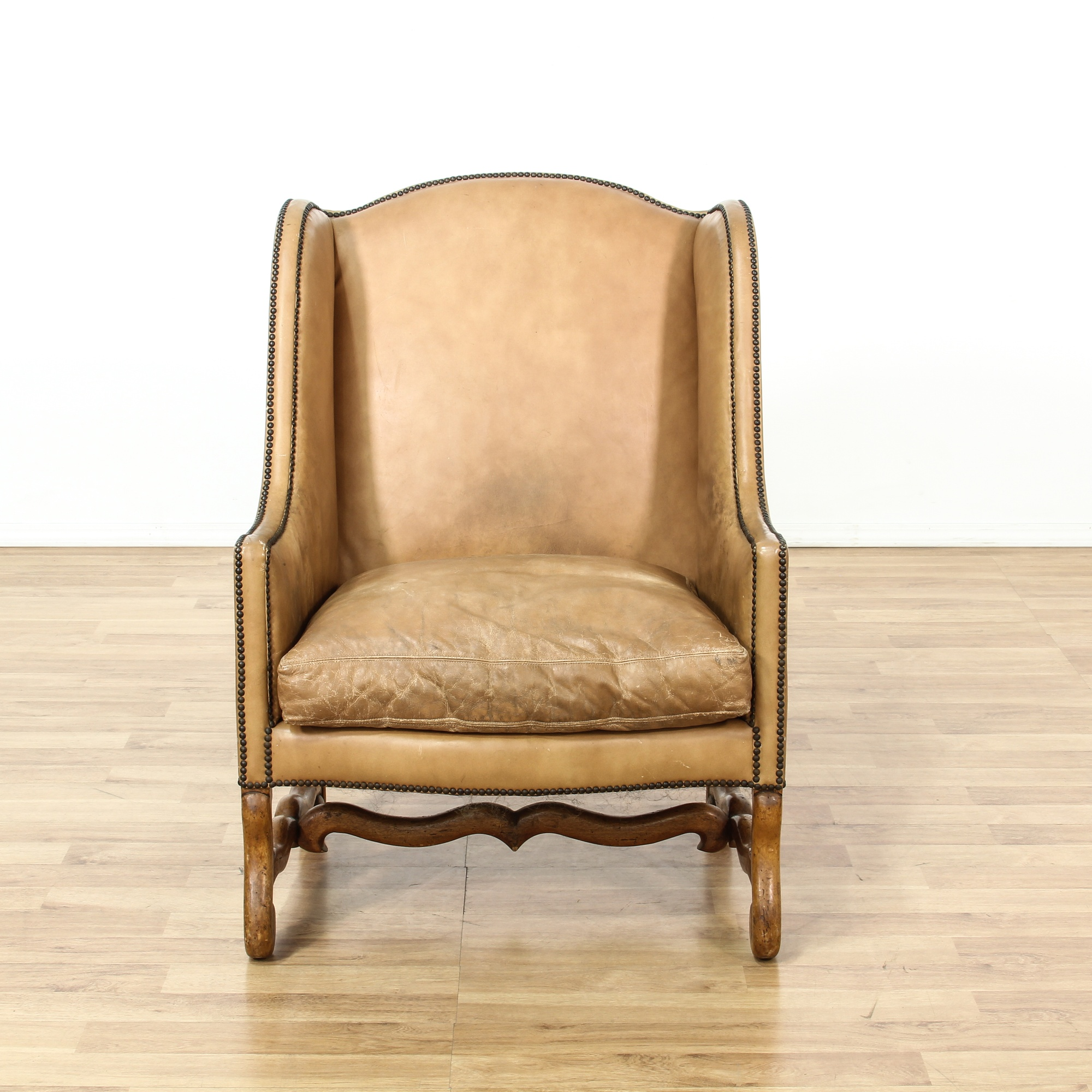 Studded Tan Leather Wingback Armchair Loveseat Vintage