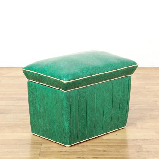 Retro Green Vinyl Upholstered Storage Ottoman Loveseat