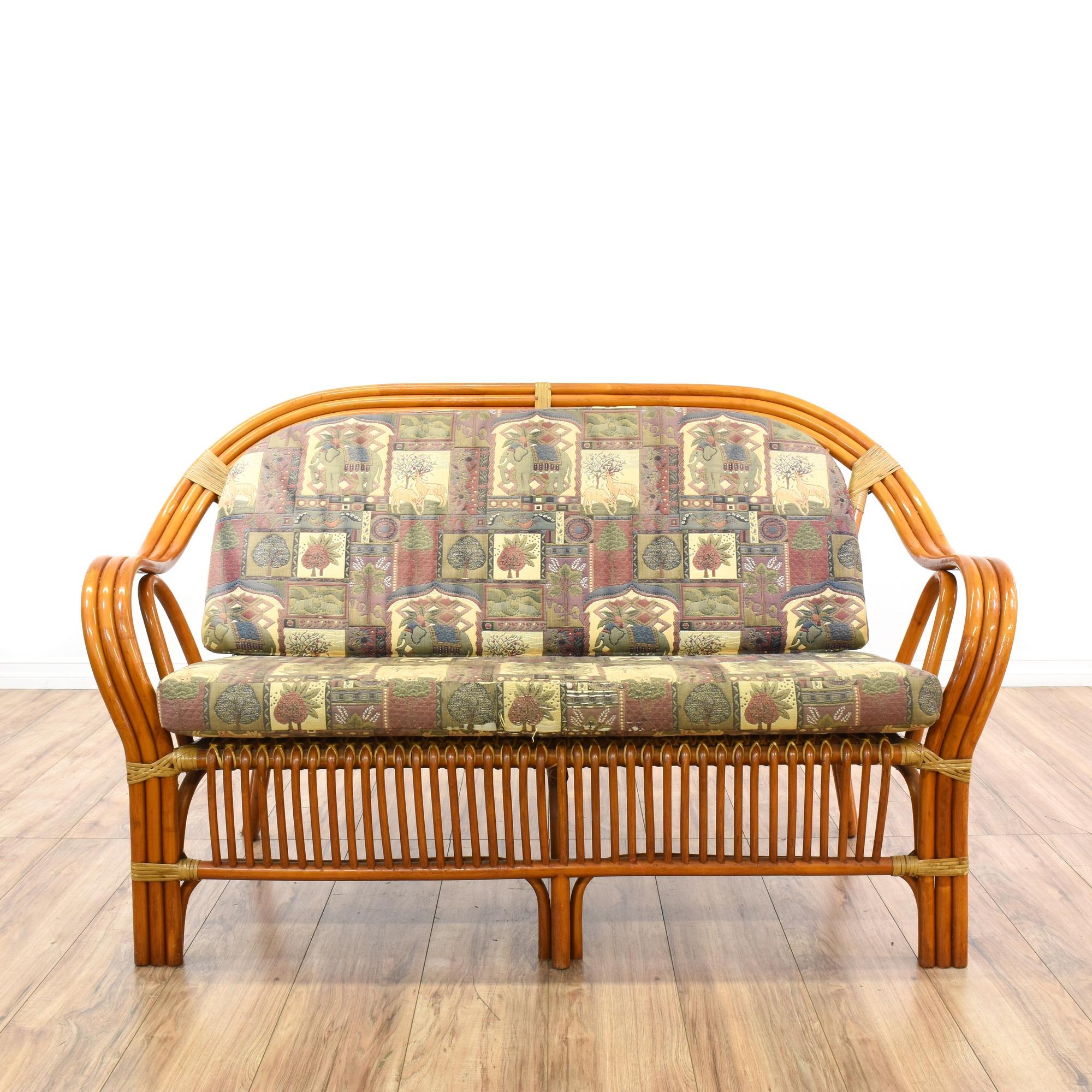 Bohemian Curved Rattan Loveseat Sofa