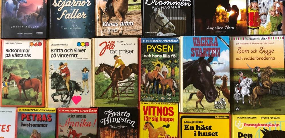 Bild på omslag till flera olika hästböcker