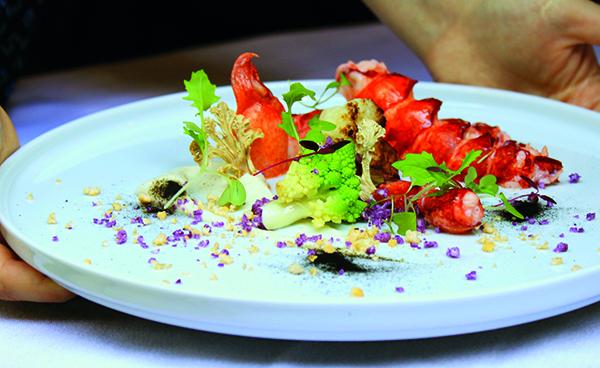 Lobster, smoked cauliflower purée, Romanesco, pickled shavings