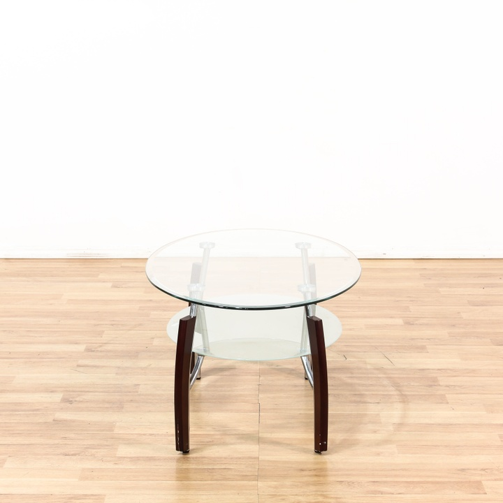 Modern 2 Tier Oval Coffee Table W Glass Top Loveseat Vintage Furniture Los Angeles
