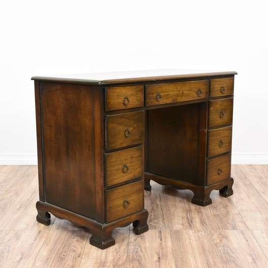 Walnut 9 Drawer Kneehole Desk