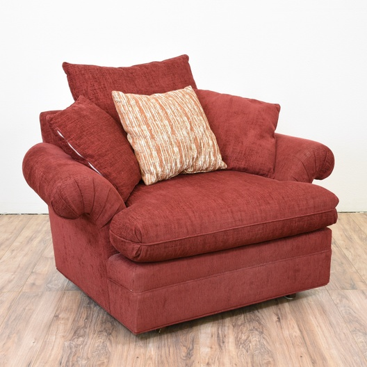 Red Overstuffed Armchair | Loveseat Online Auctions San Diego