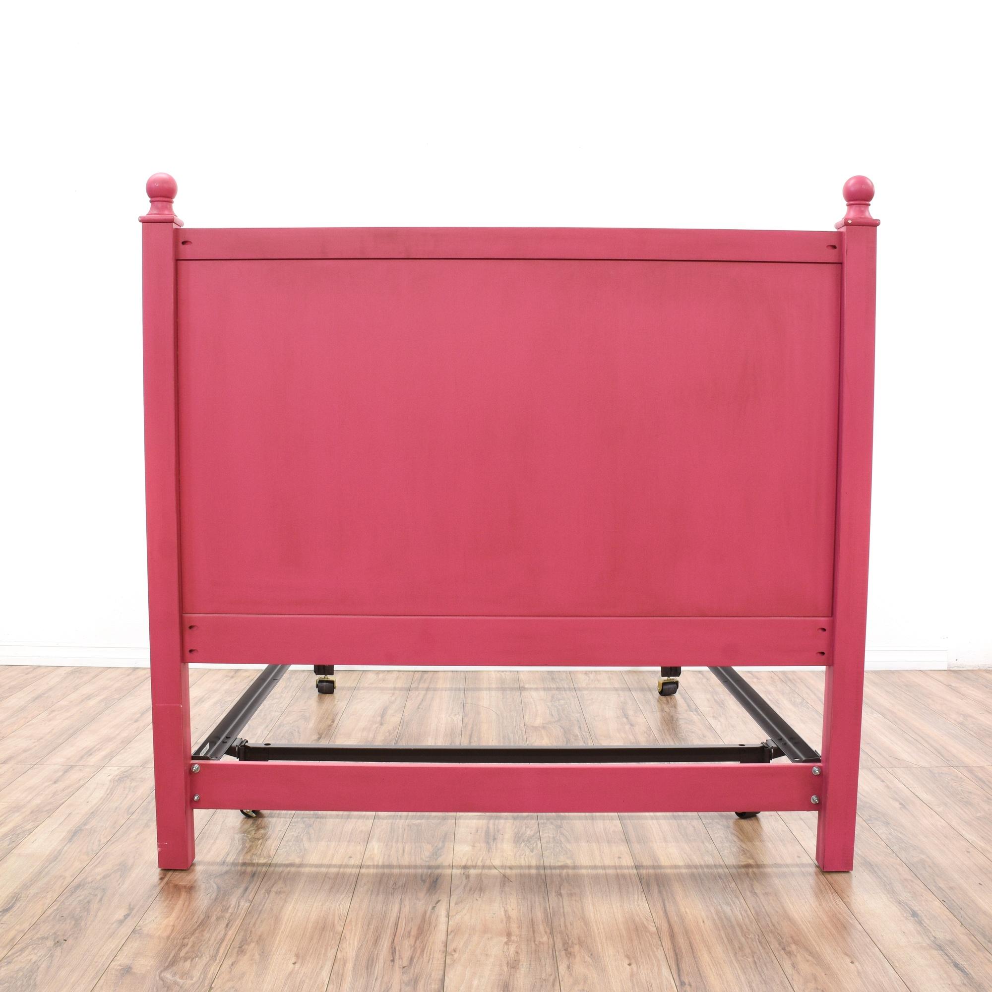 Ethan allen full fuschia pink bed frame loveseat vintage furniture san diego los angeles - Ethan allen metal bed ...