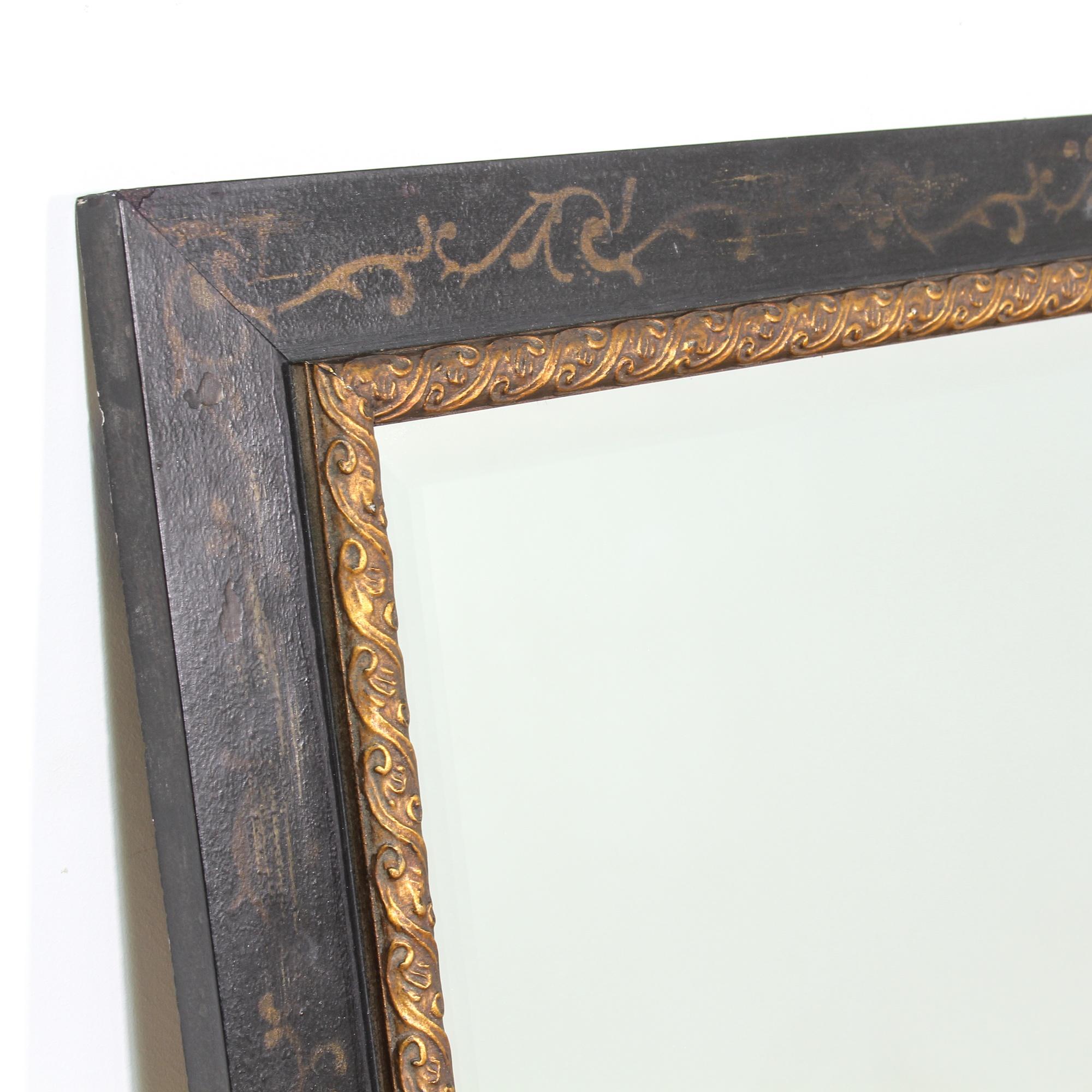 Large black painted framed mirror loveseat vintage for Large black framed mirror