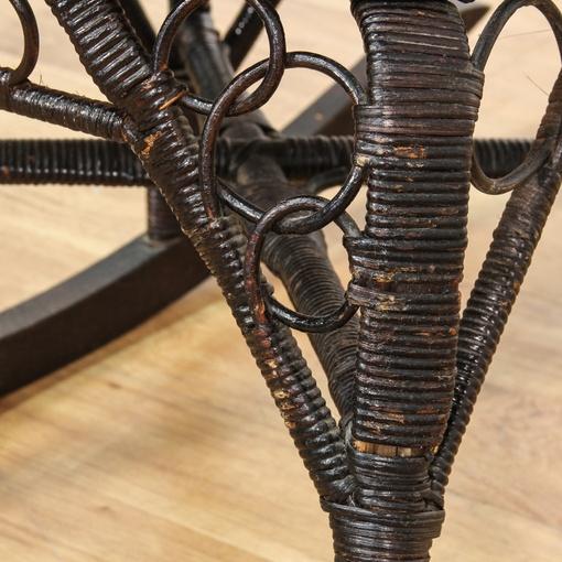 Black Wicker Rattan Cane Seat Rocking Chair  Loveseat Vintage ...