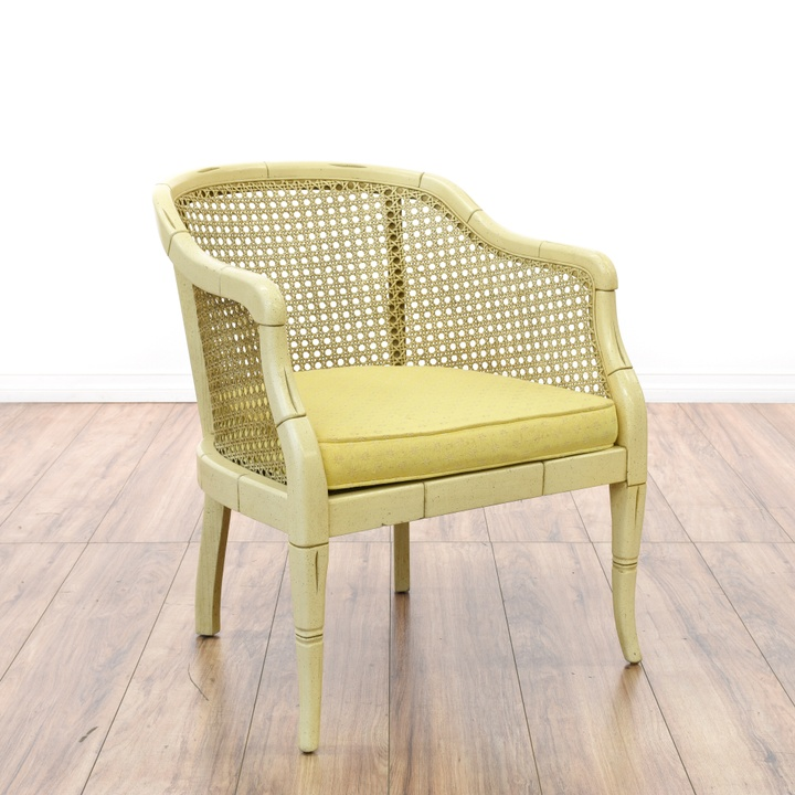 Coastal White Cane Back Chair Loveseat Vintage Furniture