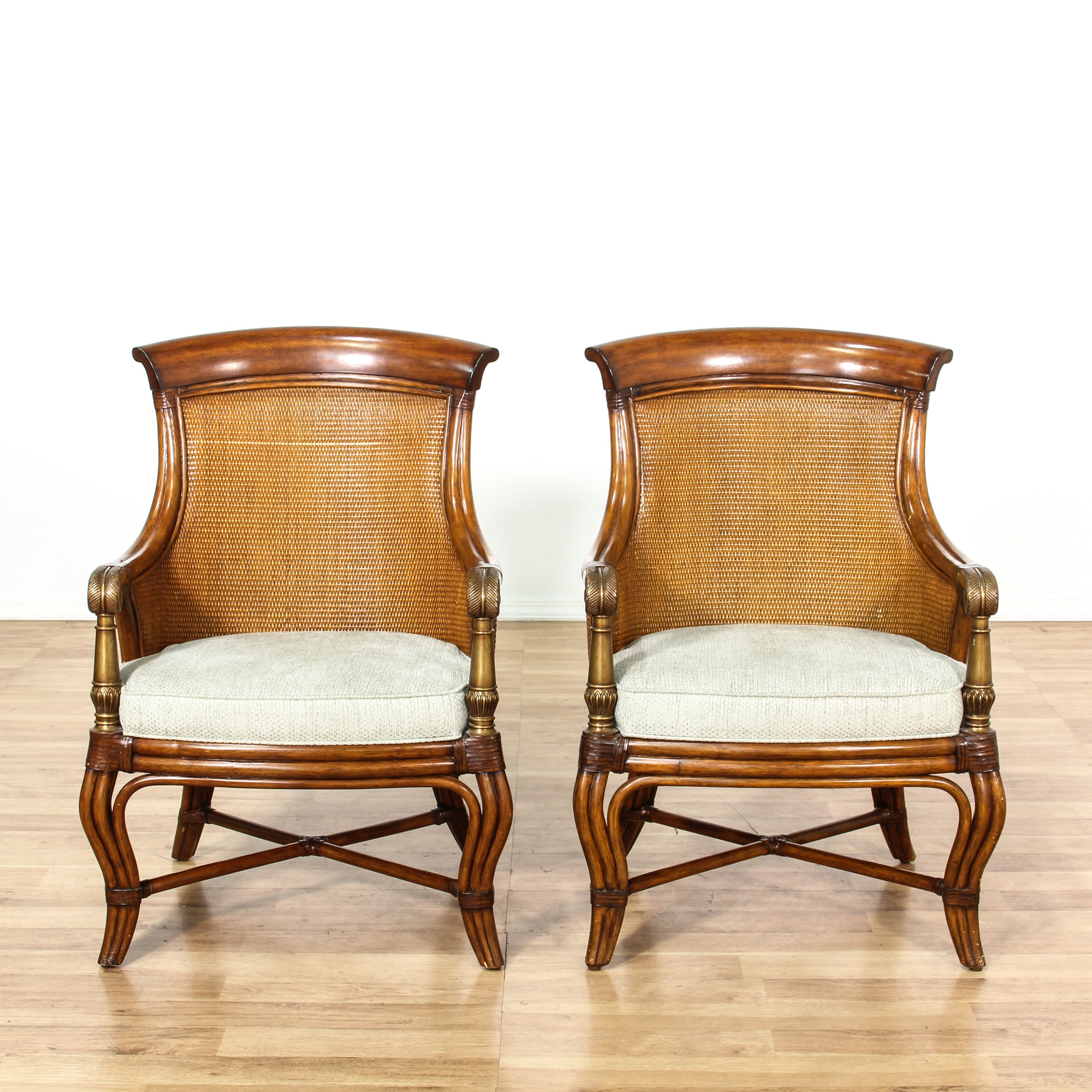 Ethan Allen Pair Of Woven Back Armchairs Loveseat Vintage Furniture San Diego Los Angeles