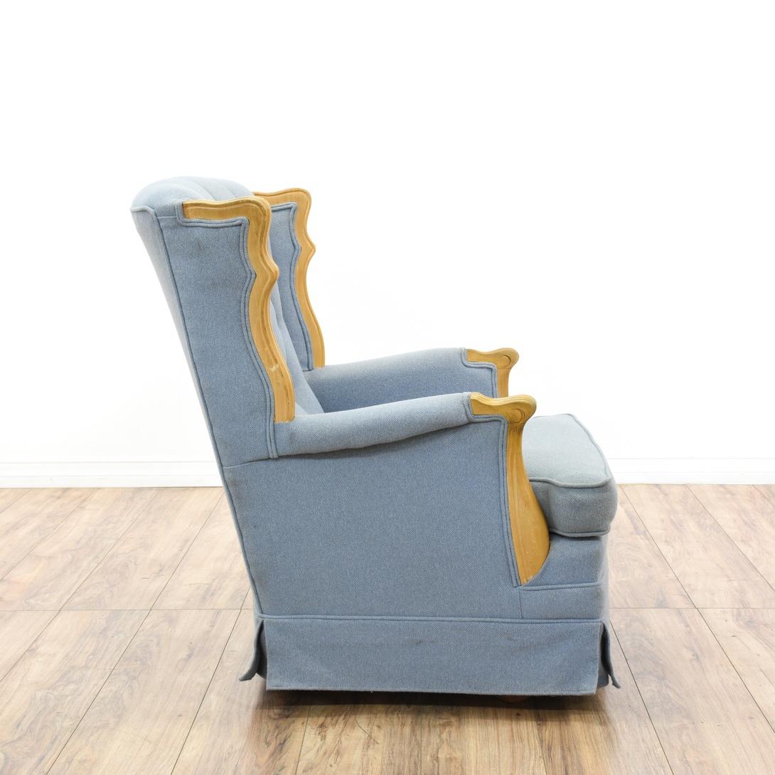Blue Diamond Tufted Rocking Chair Loveseat Vintage Furniture San Diego Los Angeles