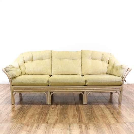 Coastal Whitewash Rattan Cream Couch