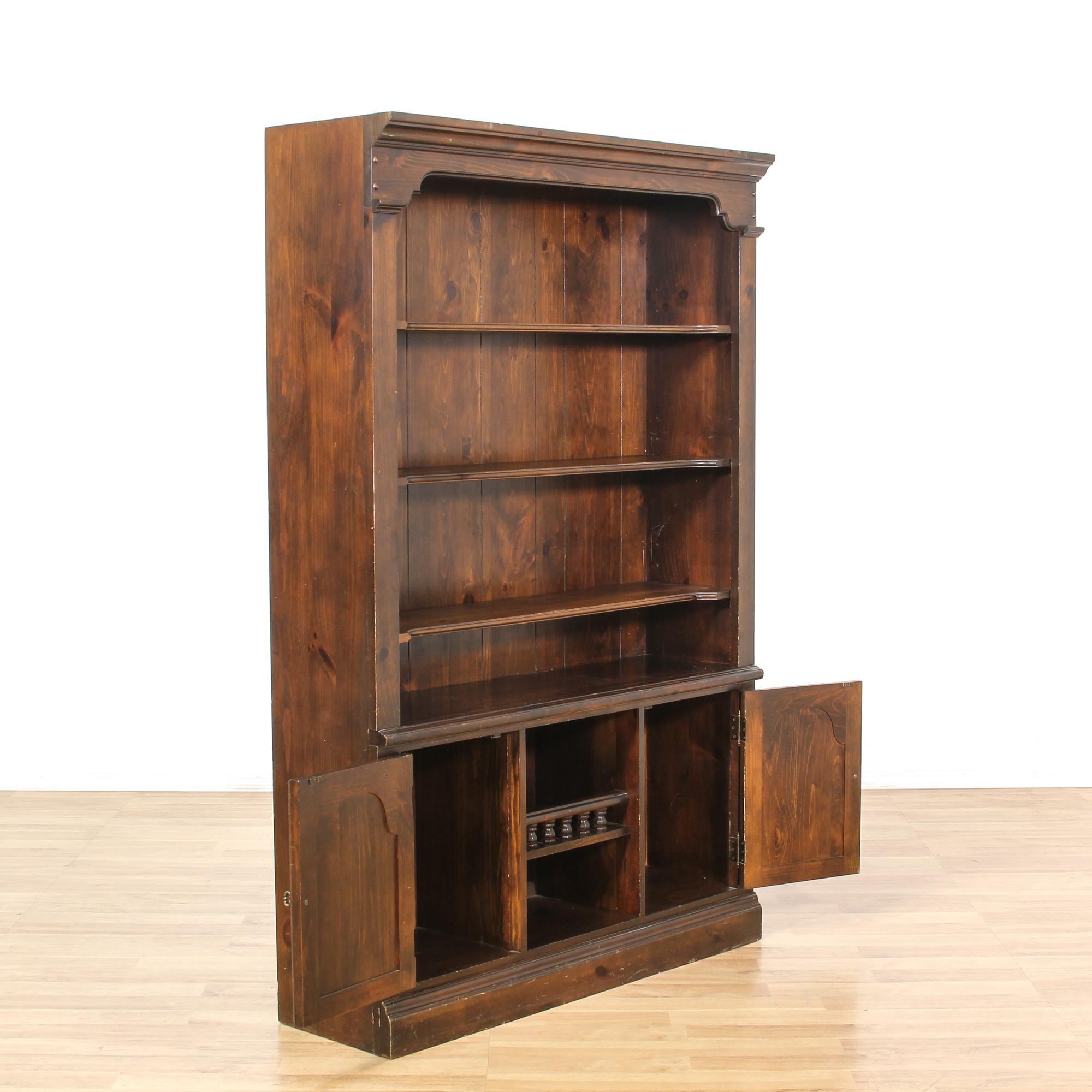 Dark Wood Bookshelf ~ Tall dark wood door bookcase loveseat vintage