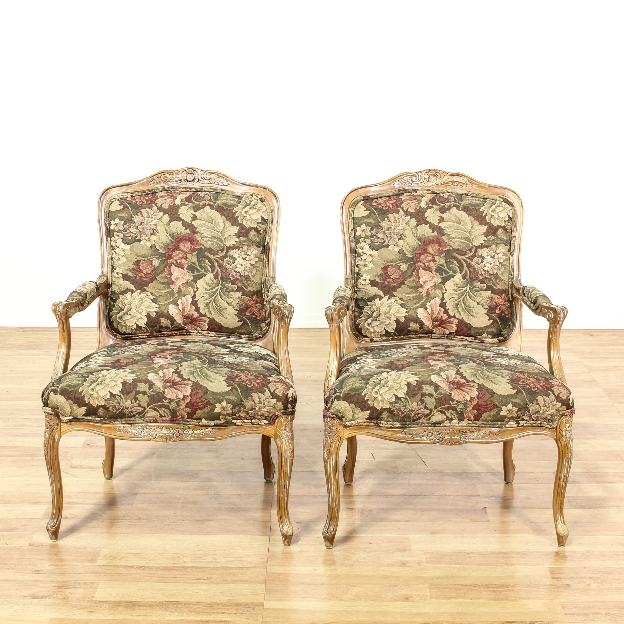 Vintage Looking Chairs: Pair Of Floral Louis XV Style Accent Chairs