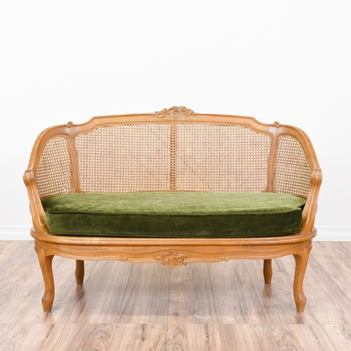Curved Cane Back Settee W Green Velvet Cushions Loveseat Vintage Furniture San Diego Los