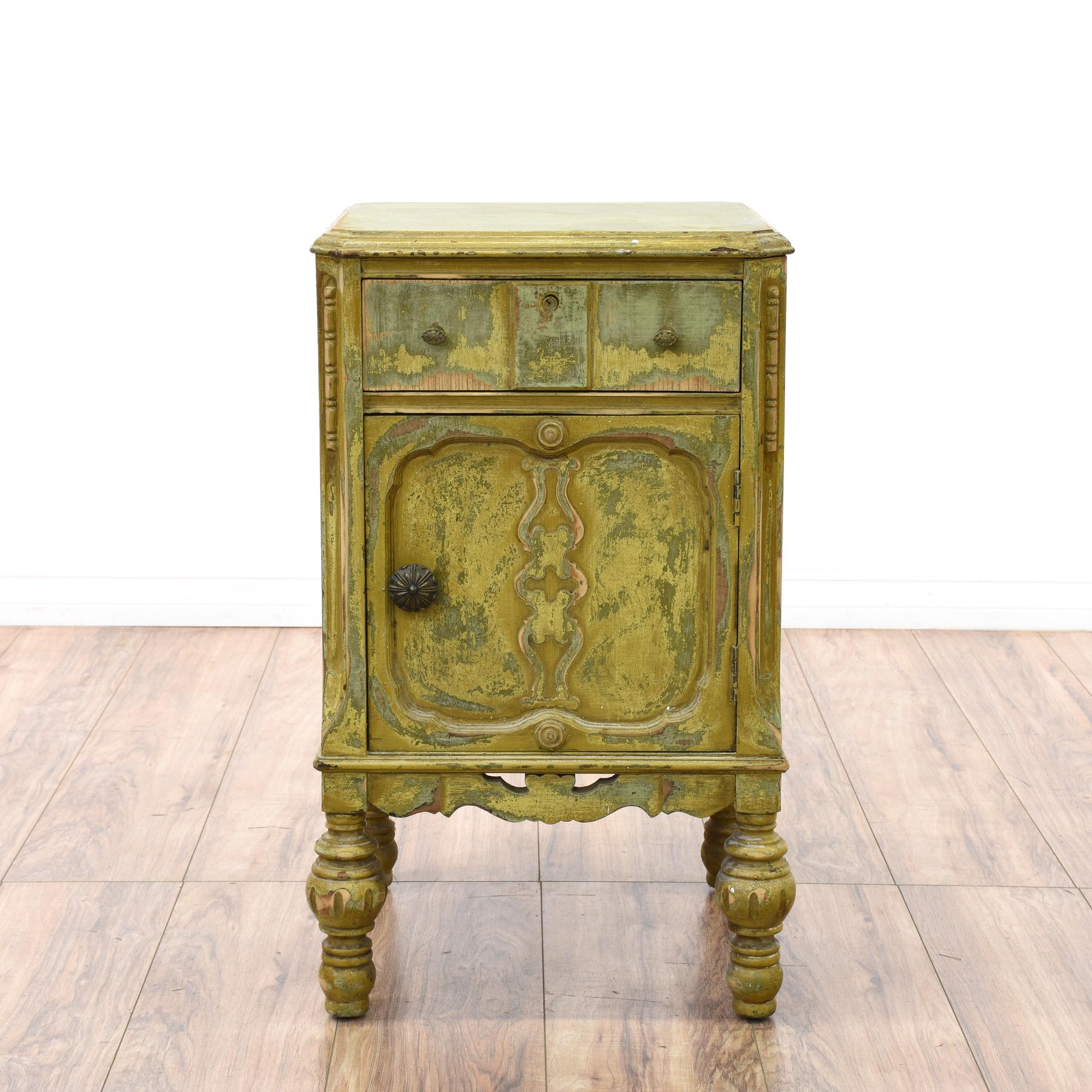 shabby chic distressed green nightstand loveseat vintage furniture san diego los angeles. Black Bedroom Furniture Sets. Home Design Ideas