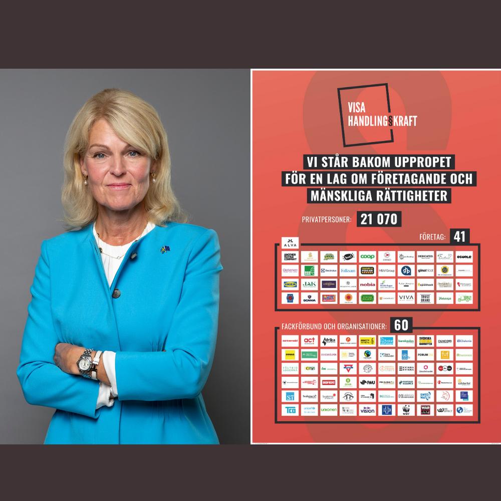 Utrikeshandelsminister Anna Hallberg samt plansch med det insamlade stödet för uppropet