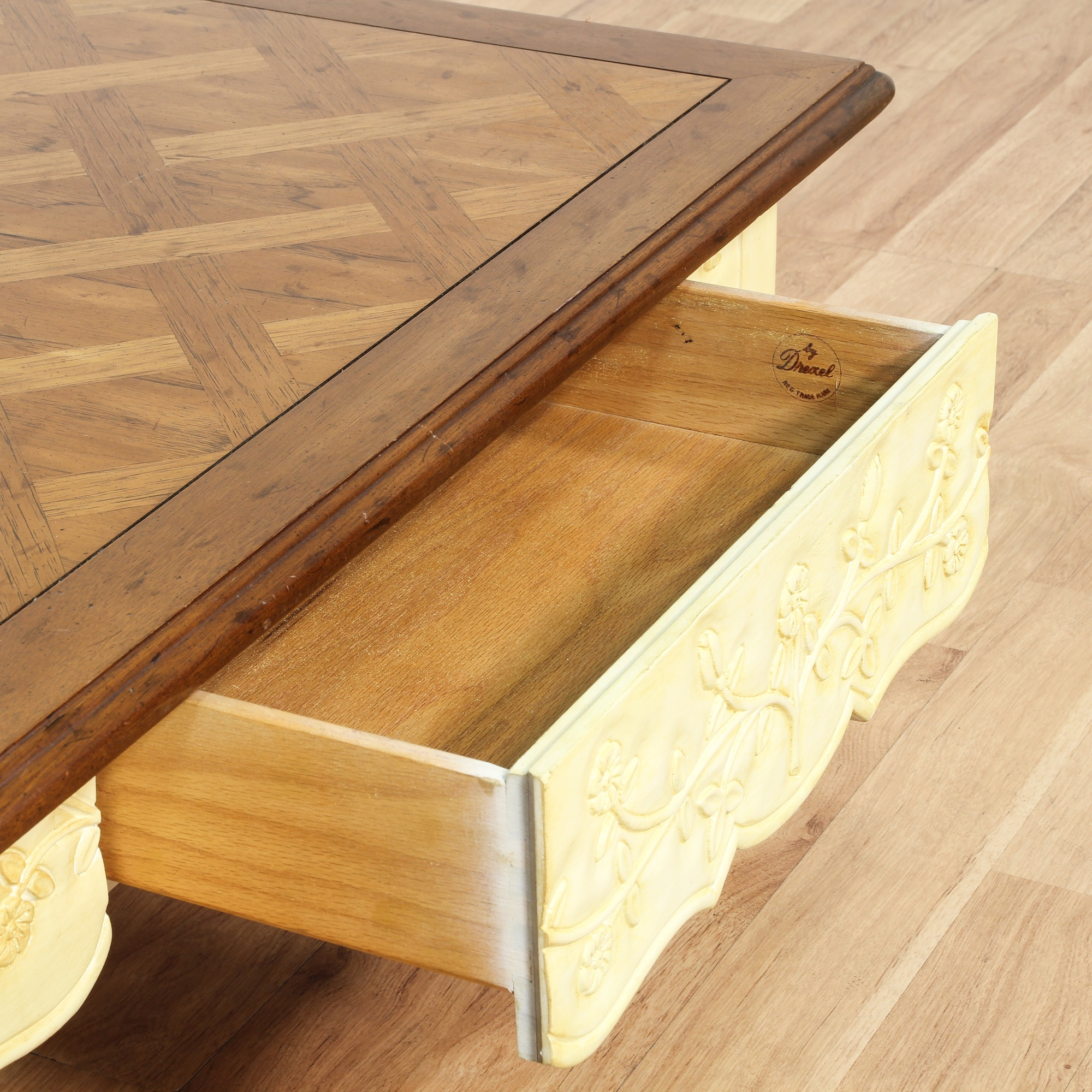 French Parquetry Coffee Table: French Provincial Parquetry Top Coffee Table