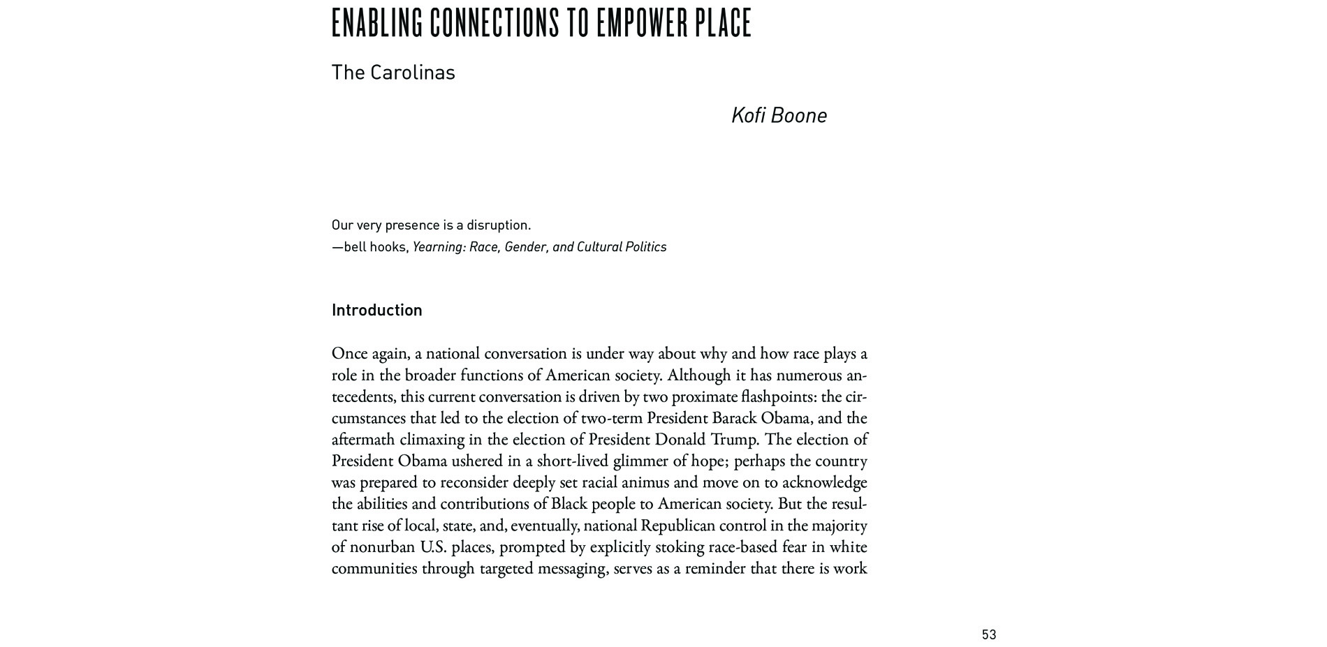 Black Landscapes Matter, Enabling Connections to Empower Place: The Carolinas (pg. 53)