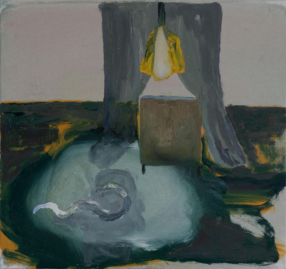 Anneli Nise  Den vita ormen, 2018. Olja på duk 46 x 49 cm.