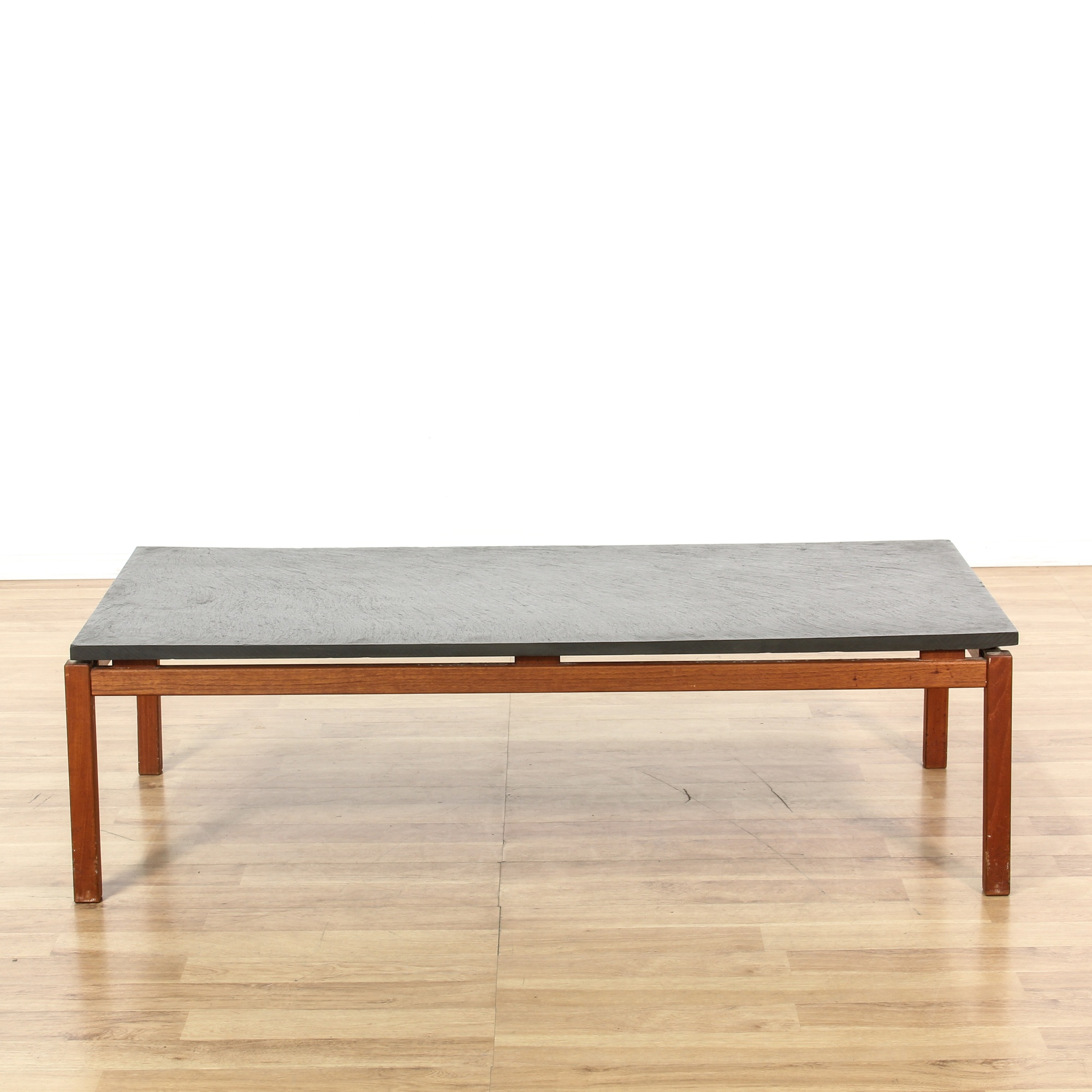 Mid century modern teak slate top coffee table loveseat vintage furniture san diego los angeles Slate top coffee tables