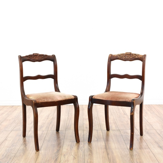 Pair Of Carved Rose Duncan Phyfe Dining Chairs
