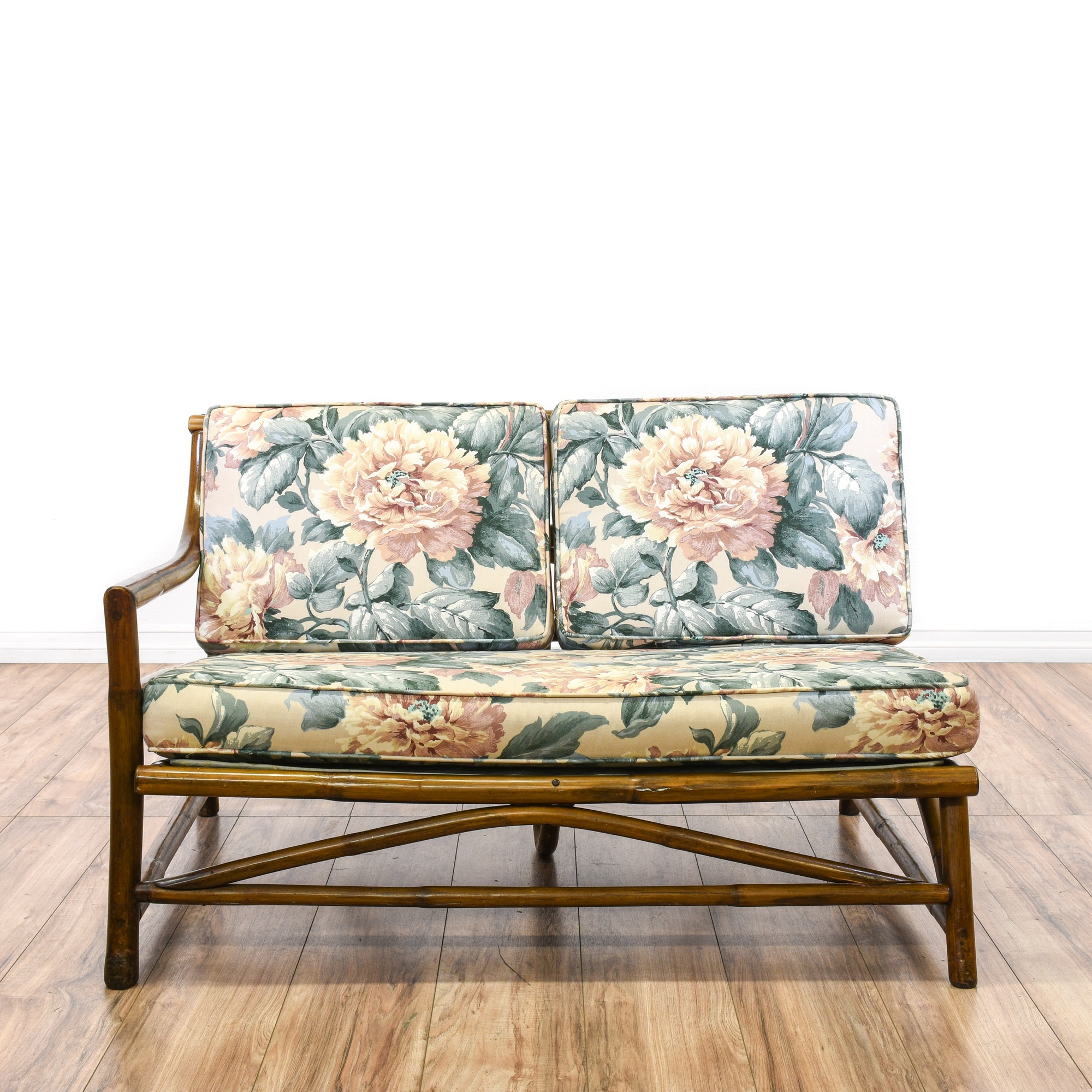 Pair Of Bamboo Floral Loveseats Loveseat Vintage Furniture San Diego Los Angeles