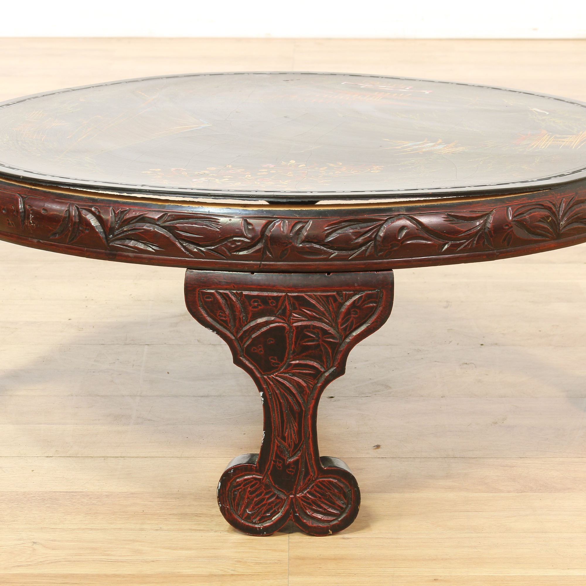 Carved Coffee Table Glass Top Chinese: Asian Round Carved Coffee Table