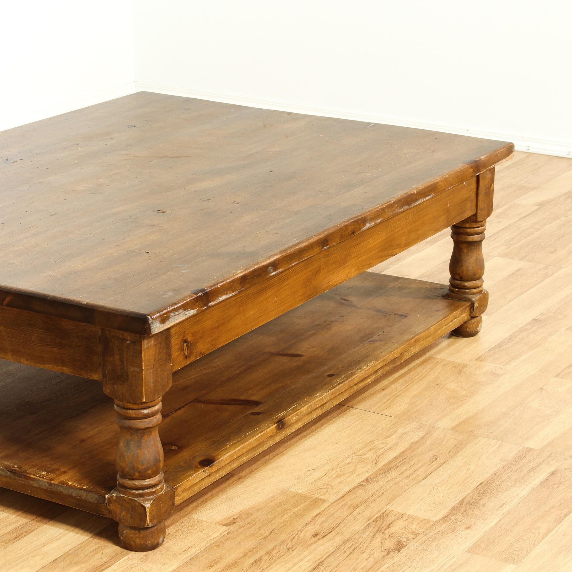 Large Rustic Pine Tiered Coffee Table Loveseat Vintage Furniture San Diego Los Angeles