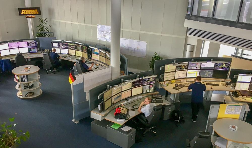 Kontrollrummet i Karlsruhe.