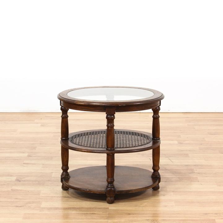 Oval 3 Tier Glass Top End Table W Cane Shelf