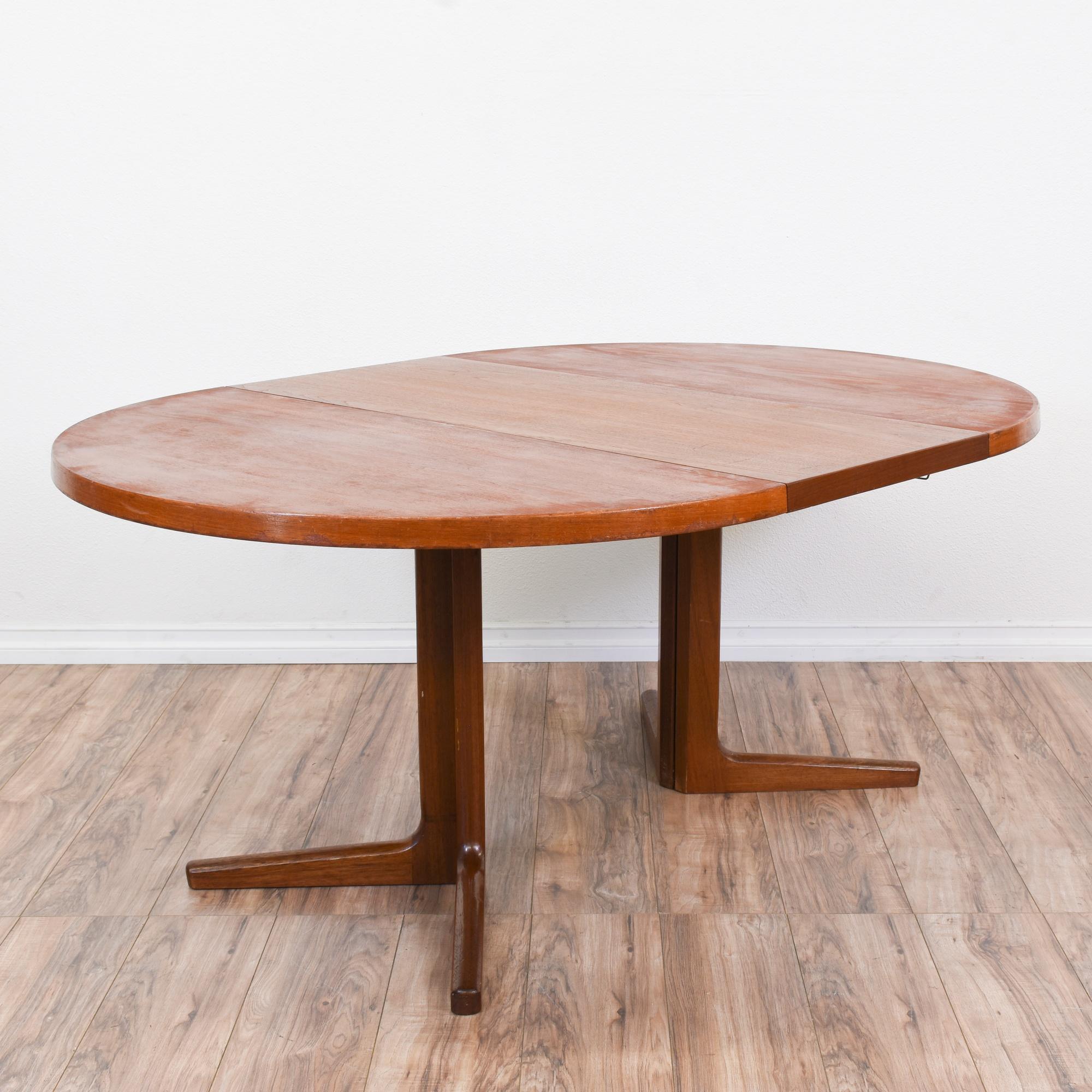Dining Room Furniture San Diego: Danish Modern Round Dining Table W/1 Leaf