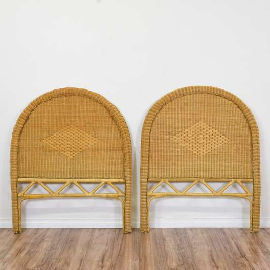 Pair of Woven Rattan Headboards