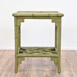 Tropical Olive Green Bamboo End Table 2