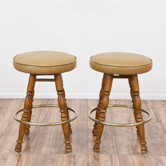 Pair of Round Carved Stools