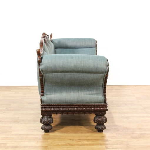 Victorian Carved Rosewood Blue Upholstered Sofa Loveseat