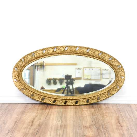 Carved Gold Oval Wall Mirror