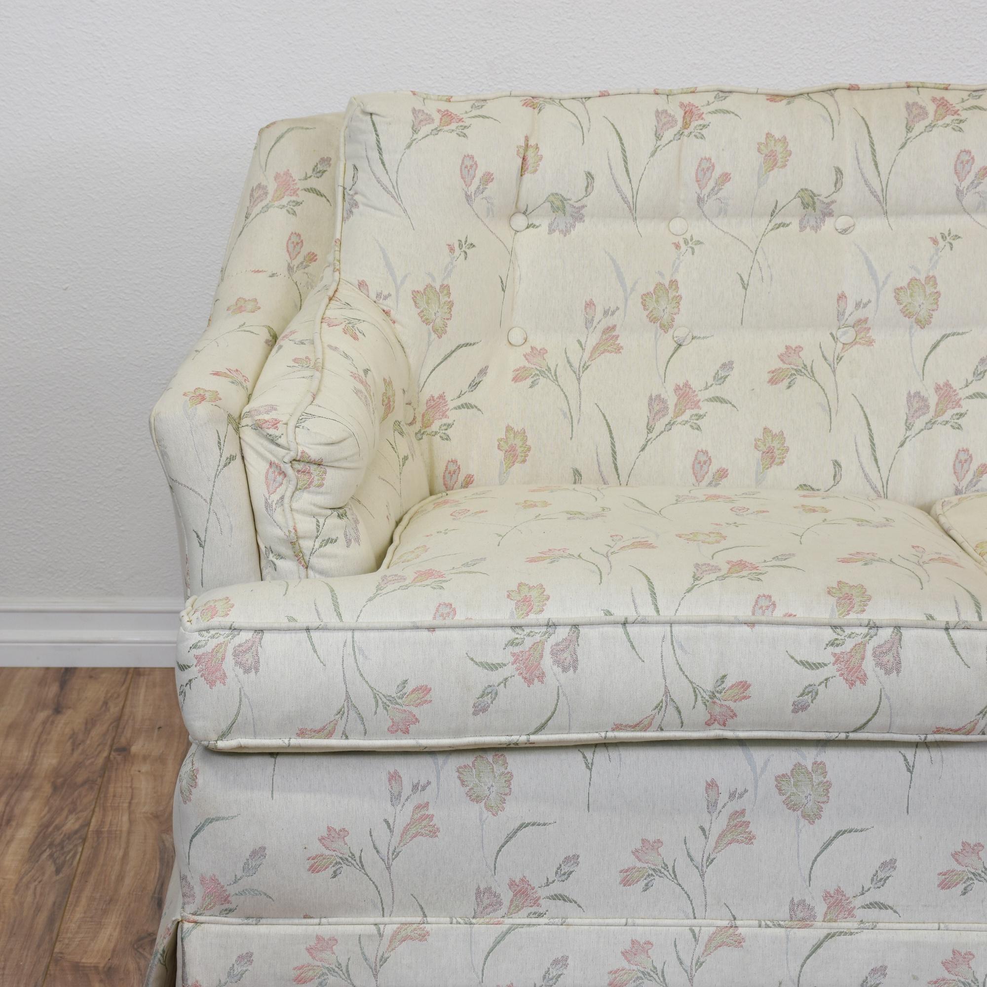 """Cavalier"" White Floral Tufted Sofa"