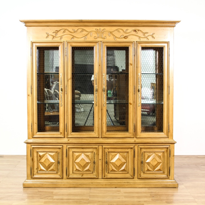Mesh Front Light Maple China Cabinet Display Case