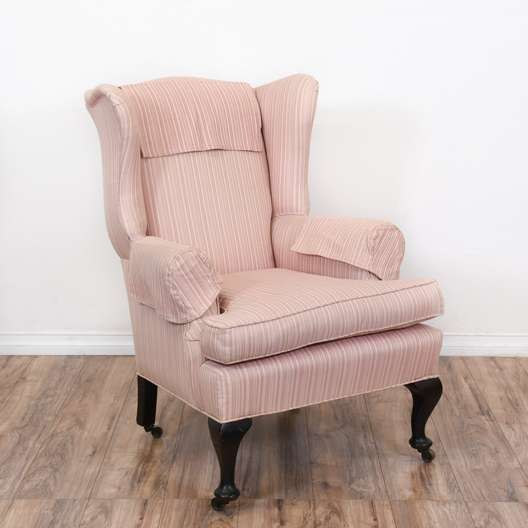 Light Pink Striped Wing Back Armchair