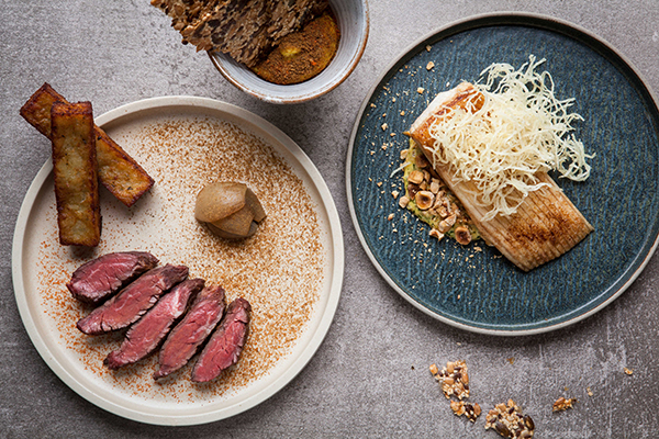 From left: skirt steak 'sour garni' and Thornback ray wing, 'tartar' sauce and hazelnuts