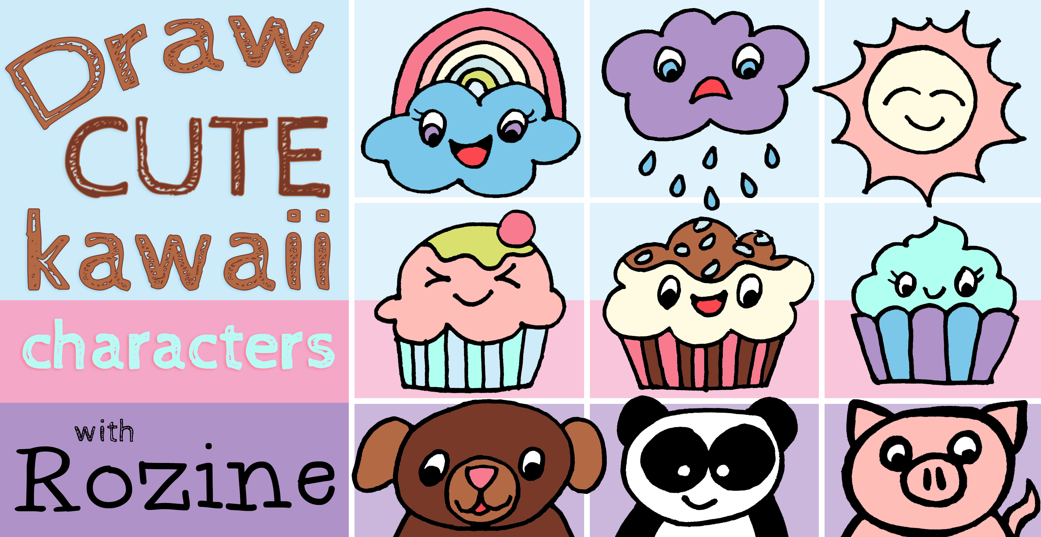 Draw Color Cute Kawaii Characters Small Online Class For Ages 6