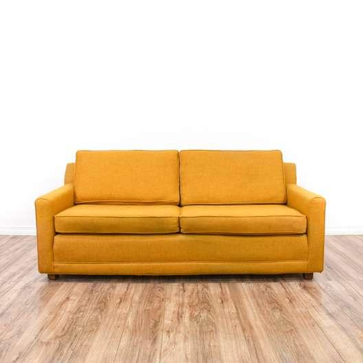 Mustard Yellow Mid Century Modern Loveseat Sofa