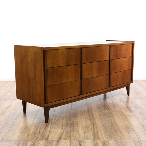 Bassett Walnut Mid Century Modern Dresser Loveseat
