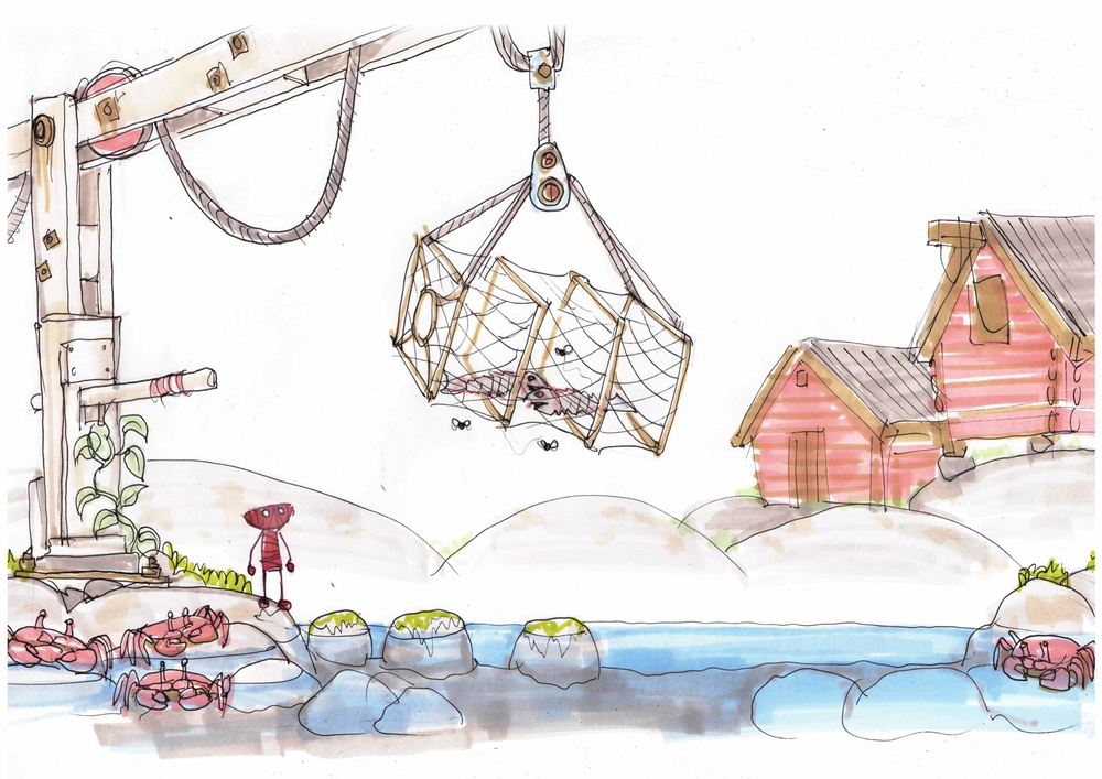 ENG:  Concept sketch for 'Unravel' titled 'The Sea' by Dick Adolfsson. © 2014 Coldwood Interactive. Unravel™ © 2016 Electronic Arts SV:  Konceptskiss för 'Unravel' med titeln 'The Sea' av Dick Adolfsson. © 2014 Coldwood Interactive. Unravel™ © 2016 Electronic Arts