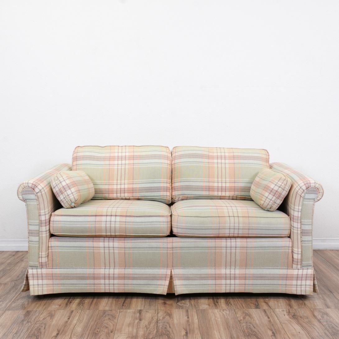 ethan allen plaid loveseat sofa loveseat vintage furniture san diego los angeles. Black Bedroom Furniture Sets. Home Design Ideas