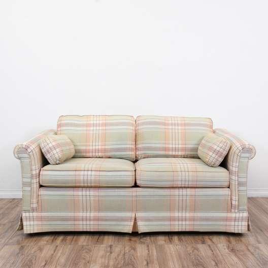"""Ethan Allen"" Plaid Loveseat Sofa"