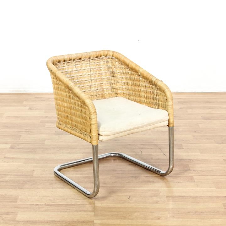 Mid Century Modern Wicker Amp Chrome Accent Chair Loveseat