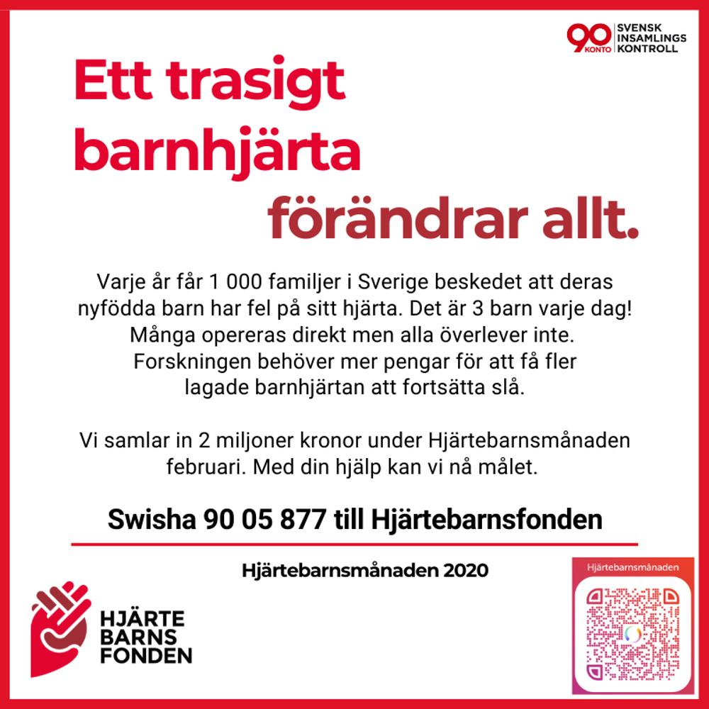 Bordsaffisch med information om Hjärtebarnsmånaden 2020
