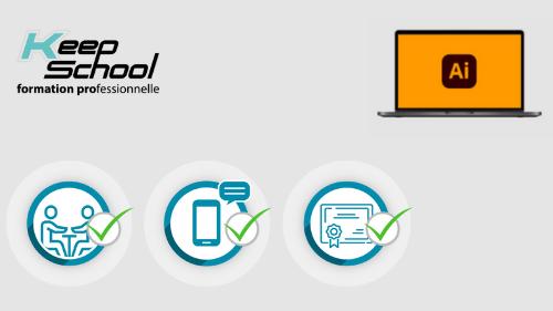 Représentation de la formation : Illustrator préparation TOSA : 100% cours particuliers à domicile (60h) + e-learning